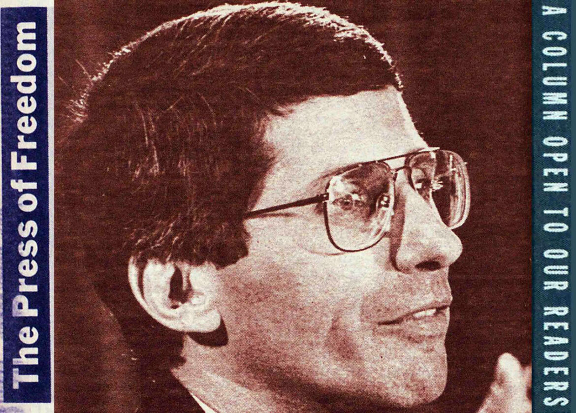 """1988 Open Letter to Dr. Fauci: """"You Are a Murderer"""""""